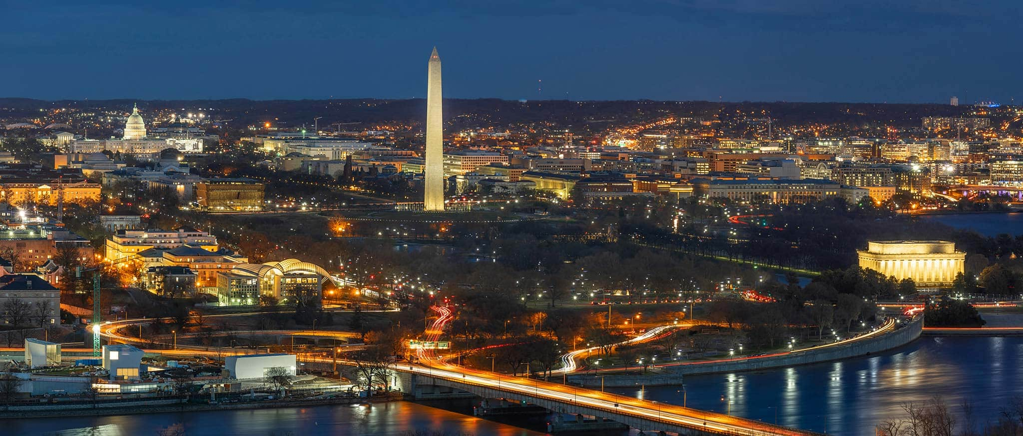 An aerial view of Washington DC at night